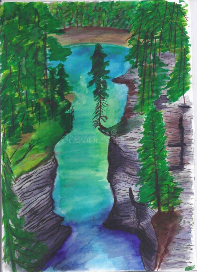 Mountain unreal blue river. Landscape. Fast mountain river.Unreal beautiful blue vector illustration
