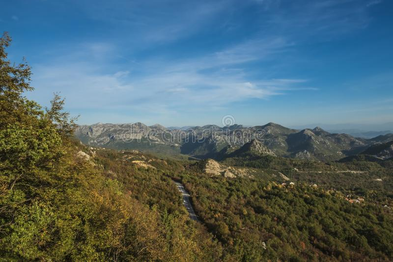 Mountain valley in autumn royalty free stock image