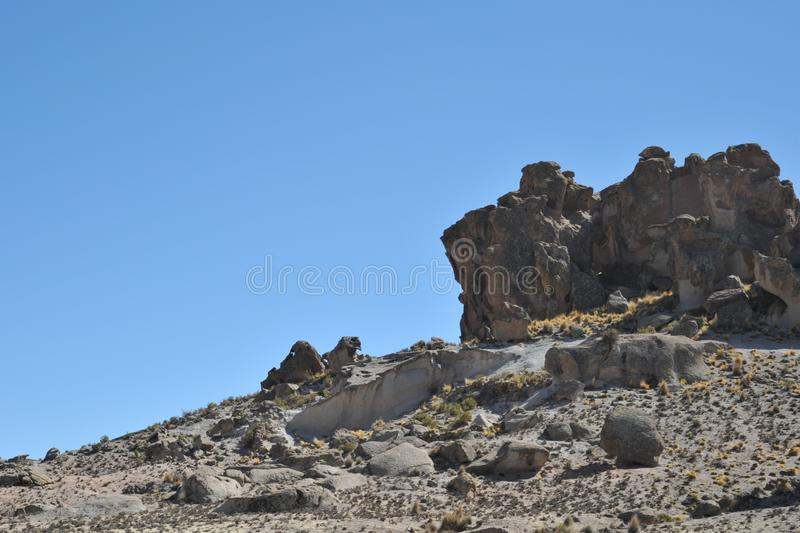 Mountain valley known for ancient cave paintings with images of animals. royalty free stock photos