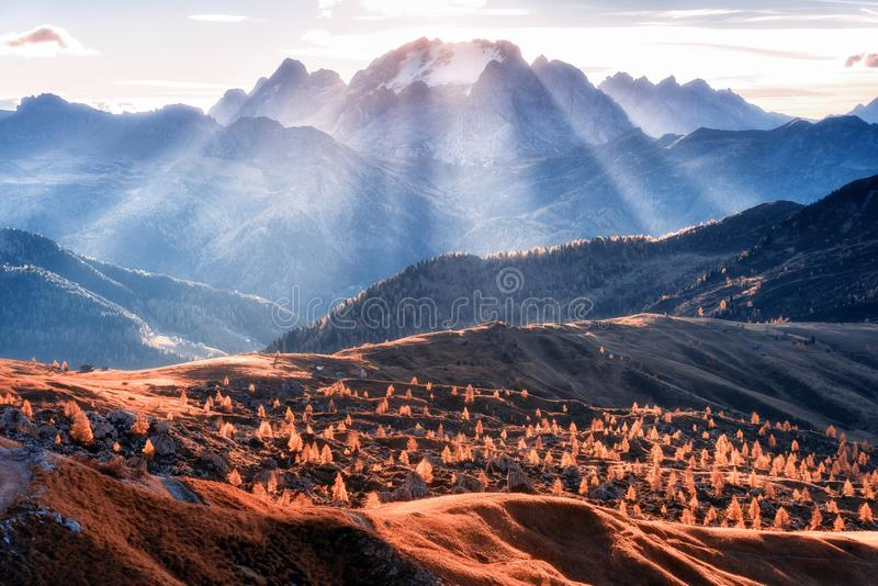 Mountain valley lighted with bright sunbeams at sunset royalty free stock images