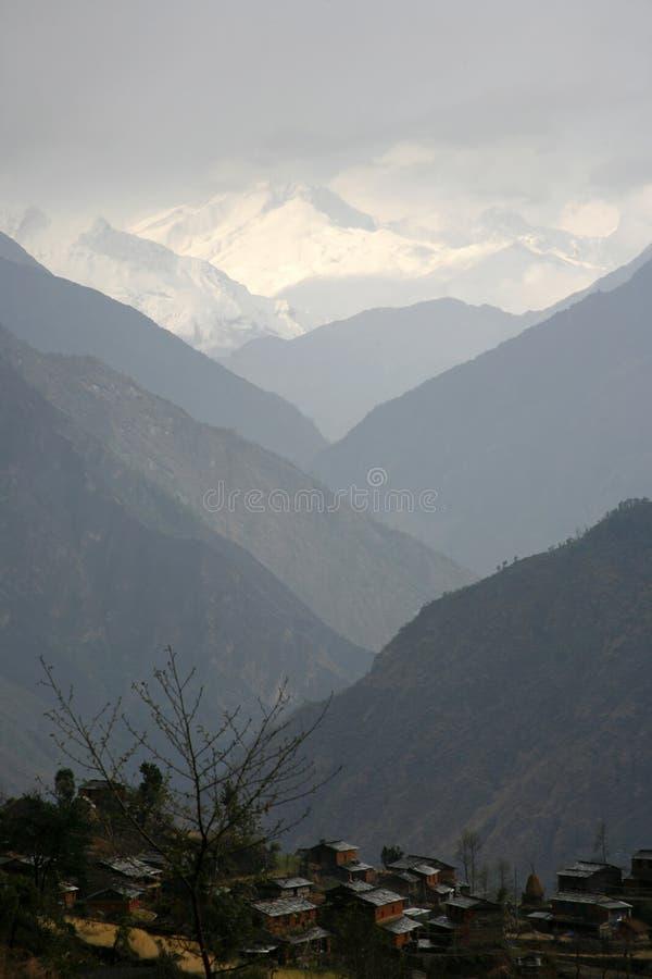 Mountain valley silhouette, himalayas stock photo