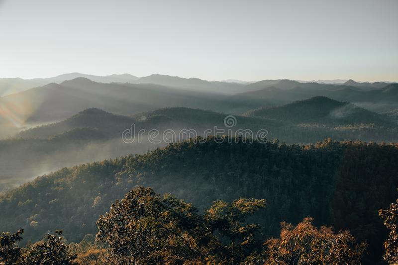 Mountain valley during sunrise. Natural summer landscape stock photography