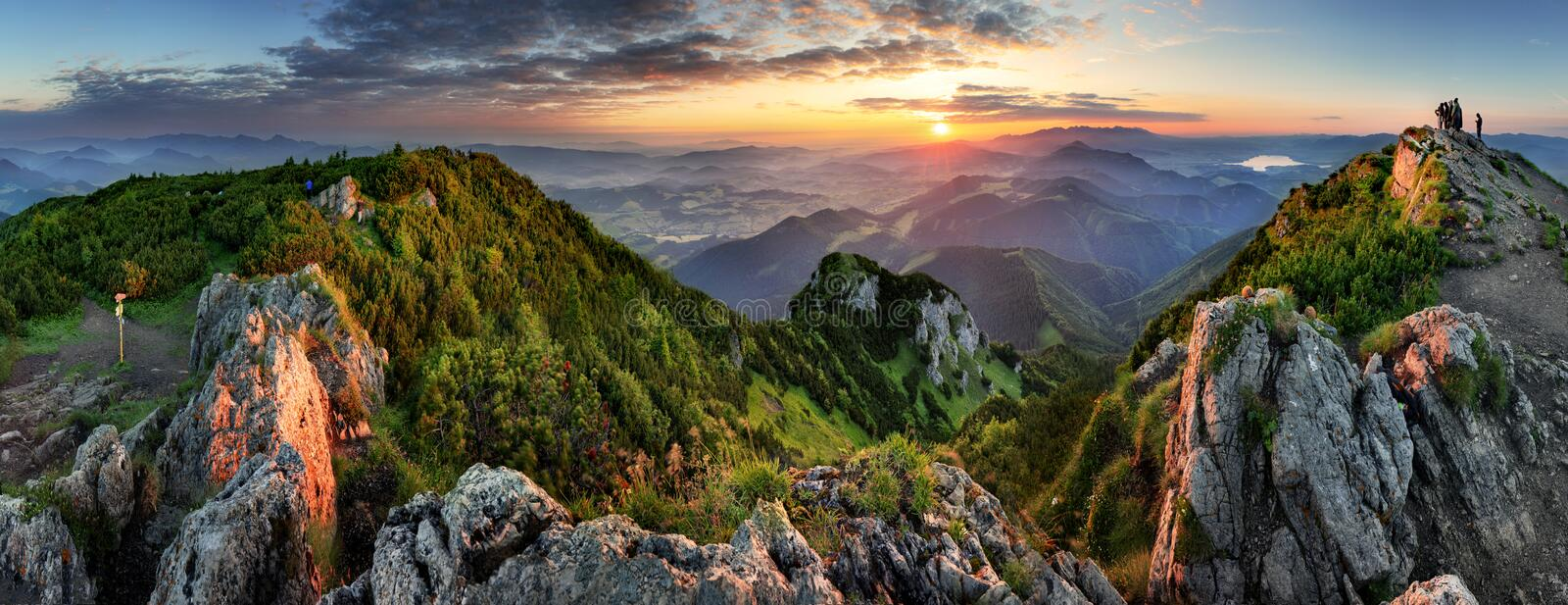Mountain valley during sunrise. Natural summer landscape in Slovakia royalty free stock photo