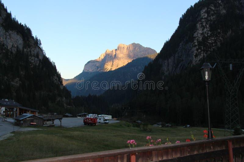 Mountain valley at sunset. stock photo