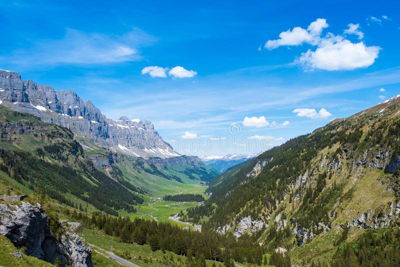 Mountain valley in Swiss alps stock photos