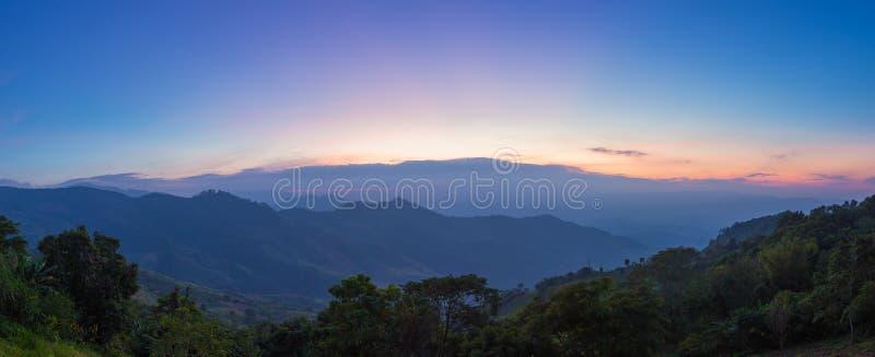 Mountain valley during twilight scene at Doi Pha Tung, Vieng Kaen, Chiangrai, Thailand.  royalty free stock photography