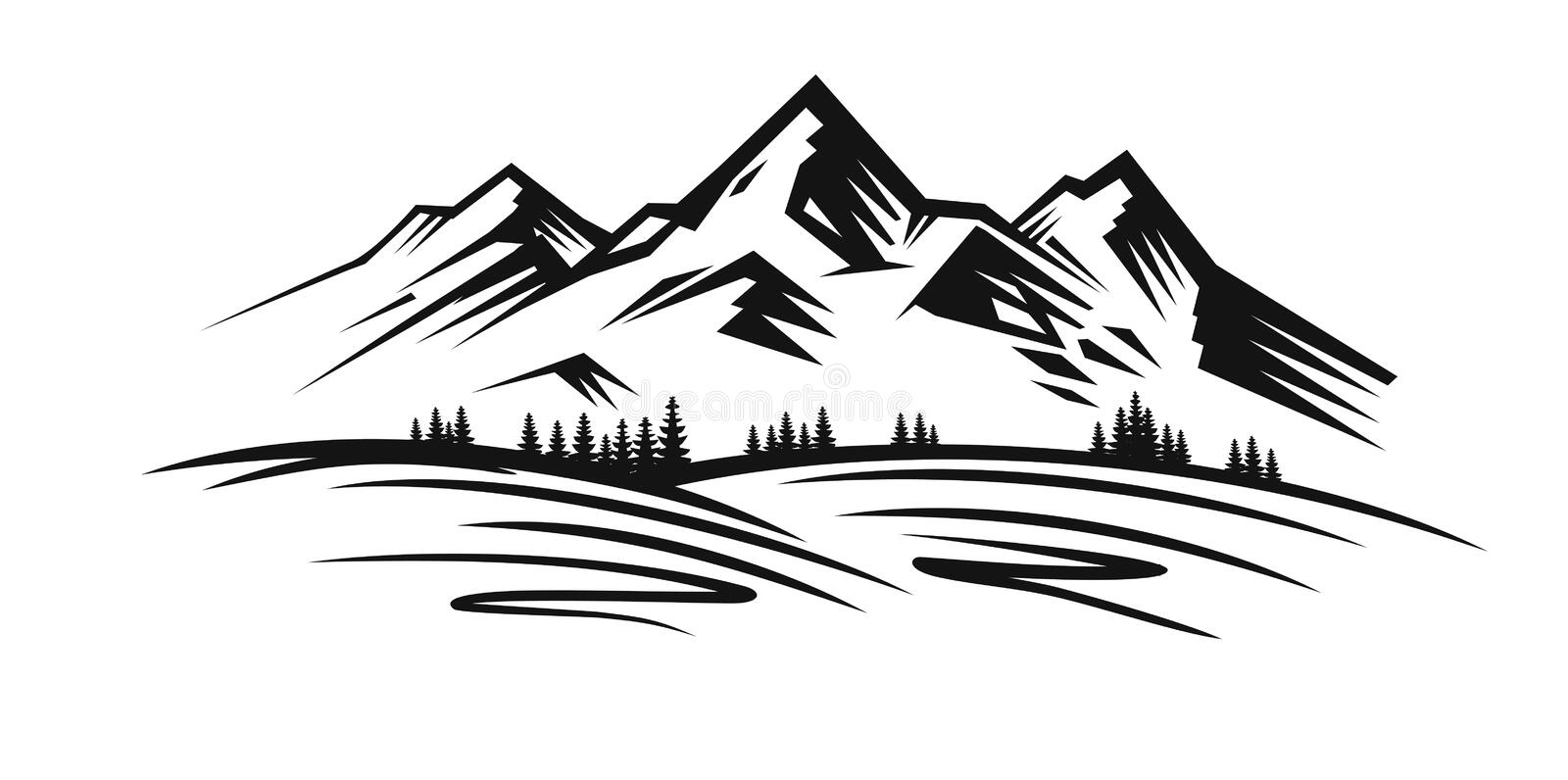 Mountain vector black royalty free illustration