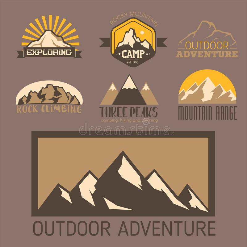 Mountain vector silhouette nature outdoor rocky snow ice top decorative landscape travel climbing mount-hill peak hiking vector illustration