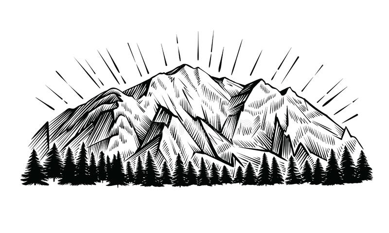 Mountain vector vintage illustration. Engraving rock chains landscape with peak and forest. Mountains vector vintage illustration. Black and white engraving vector illustration