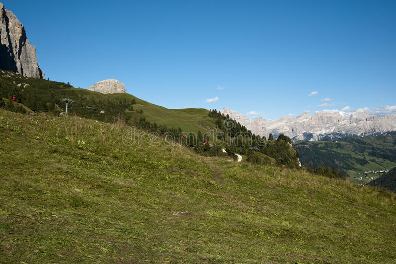 Mountain View. Summer mountain view from Gardena pass in a sunny day - Italy 2009 - Dolomiti stock photography