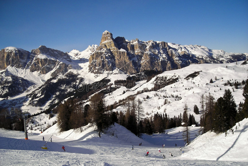Mountain View. Winter view of mountains on a slope nearby Corvara in Badia - Italy 2007 - Dolomiti stock photo