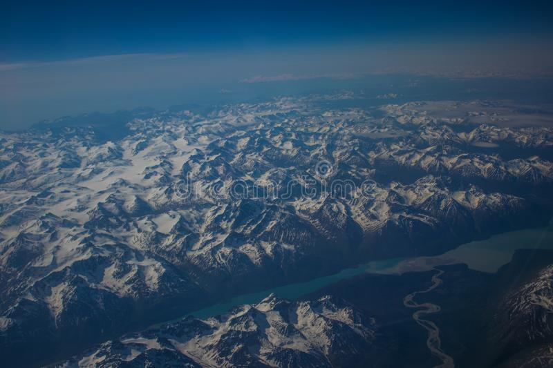 Alaskan mountains. Mountain view of Alaska from an aircraft royalty free stock images