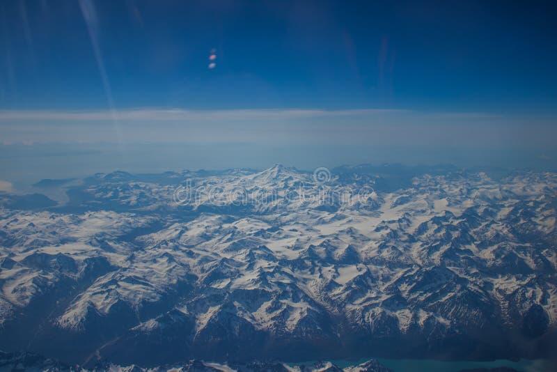 Alaskan mountains. Mountain view of Alaska from an aircraft royalty free stock image