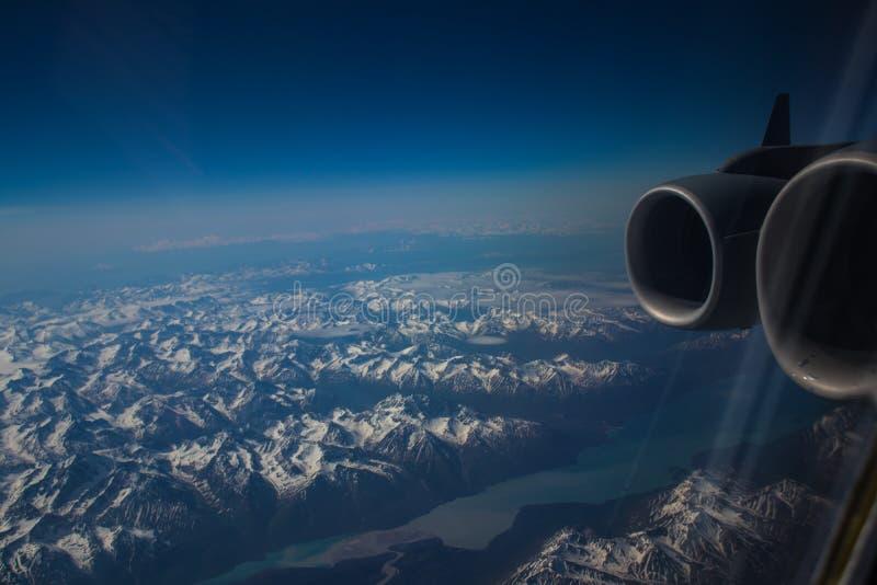 Alaskan mountains. Mountain view of Alaska from an aircraft royalty free stock photos