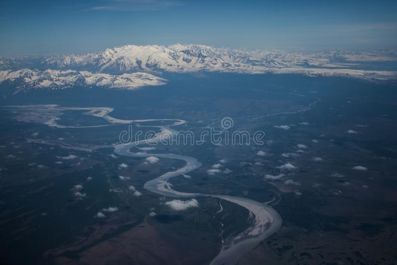 Alaskan mountains. Mountain view of Alaska from an aircraft royalty free stock photo