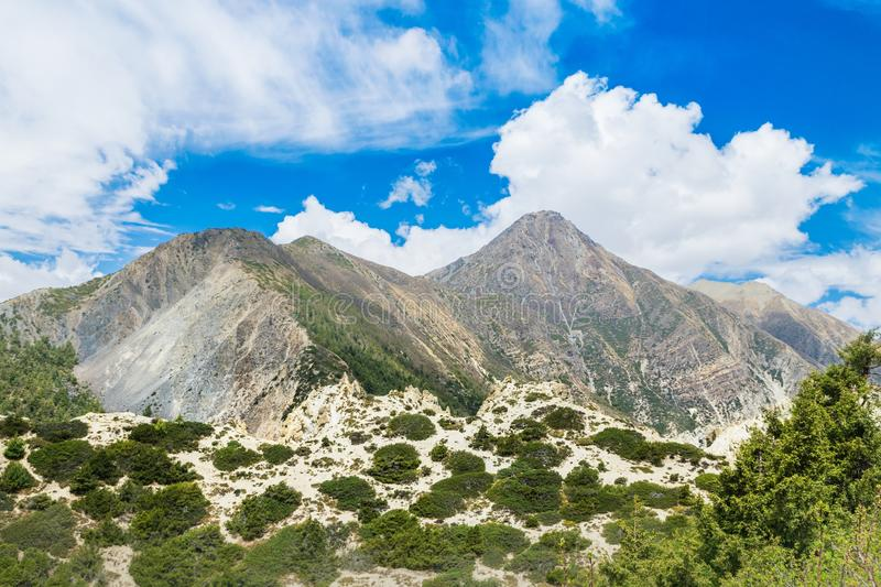 Mountain View From Annapurna Circuit Trail royalty free stock photography