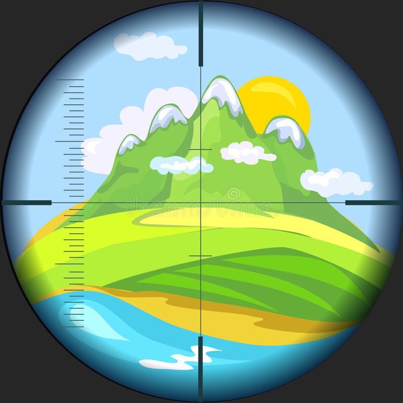 Mountain View através do telescópio ilustração stock