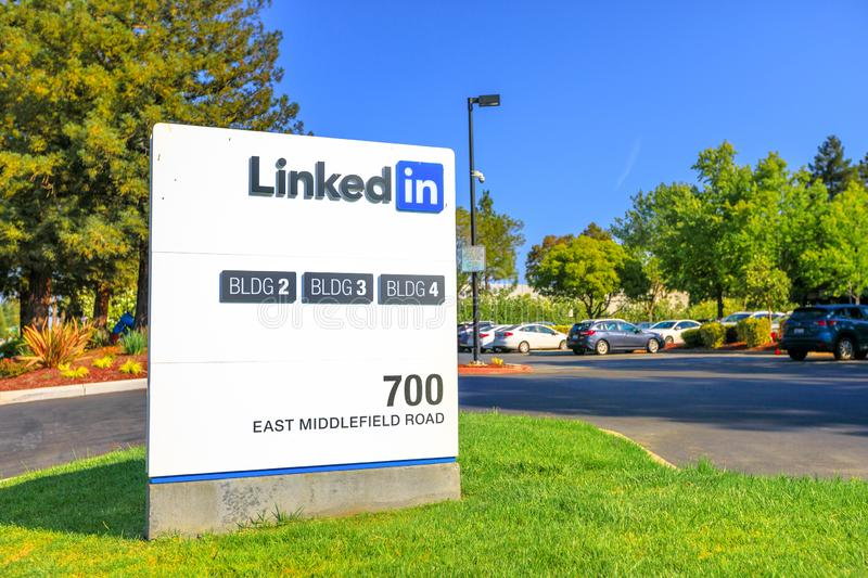 Linkedin Corp Sign. Mountain View, CA, United States - August 13, 2018: Linkedin Corp Sign at 700 East Middlefield Road, new Linkedin company campus HQ in stock photography