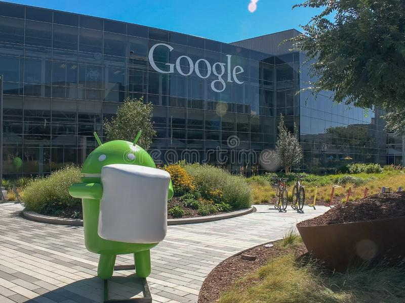 MOUNTAIN VIEW, CA, USA - AUGUST 28, 2015: close up shot of an android figure at google headquarters building royalty free stock photo