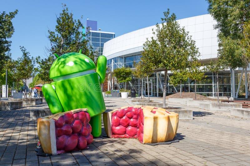 Google Android figure headquarter headquarters HQ Googleplex Mountain View royalty free stock photo