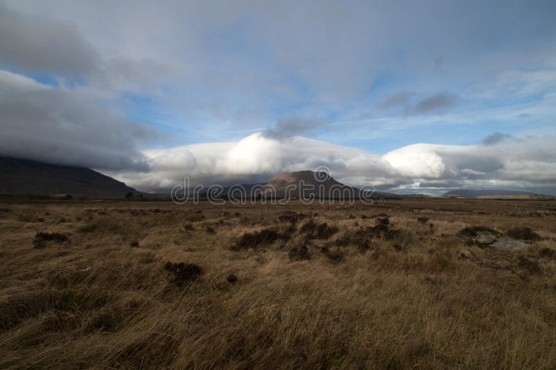 Mountain view in the Connemara region of County Galway, Ireland. As a storm approaches royalty free stock image