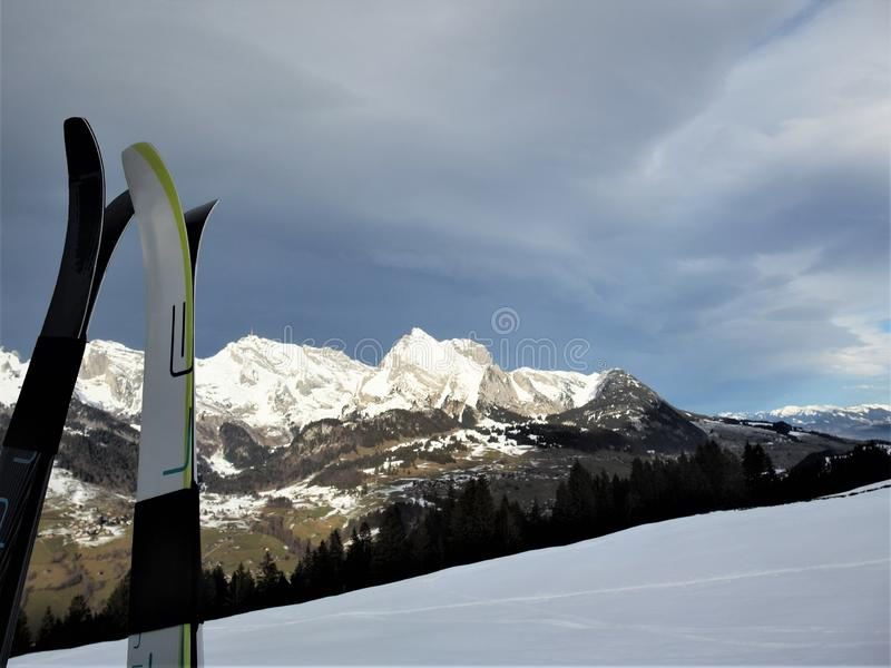 Mountain view from cross country skiing track royalty free stock images