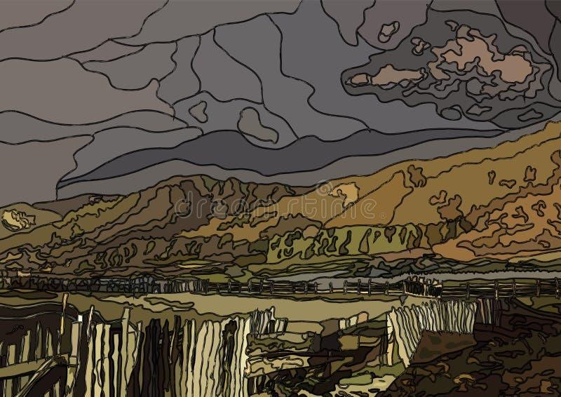Mountain View da paisagem da noite do vetor da janela de vitral na vila ilustração royalty free