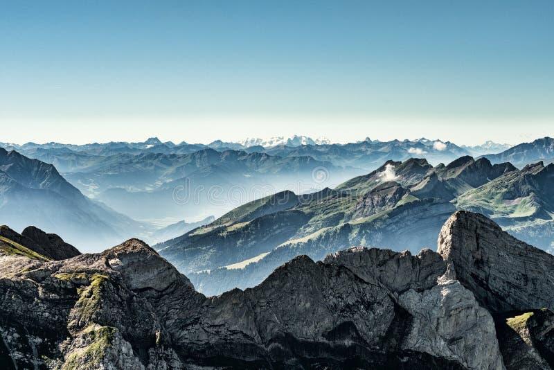 Mountain View dal supporto Saentis, Svizzera, alpi svizzere immagine stock