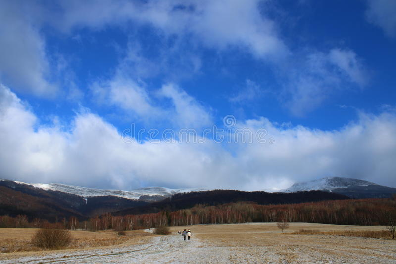 Mountain View de Bieszczady sur la crête de Tarnica image libre de droits