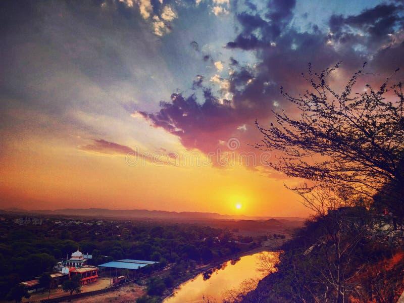 Mountain View de la puesta del sol imagenes de archivo