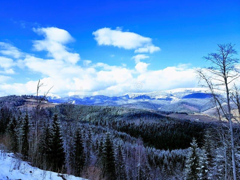 Mountain View de surpresa na estância de esqui Bukovel, Carpathians, Ucrânia imagens de stock
