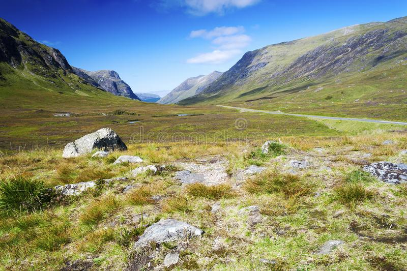 Mountain View degli altopiani da Glen Coe Valley immagine stock
