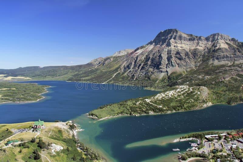 Mountain View del parco nazionale dei laghi Waterton immagine stock