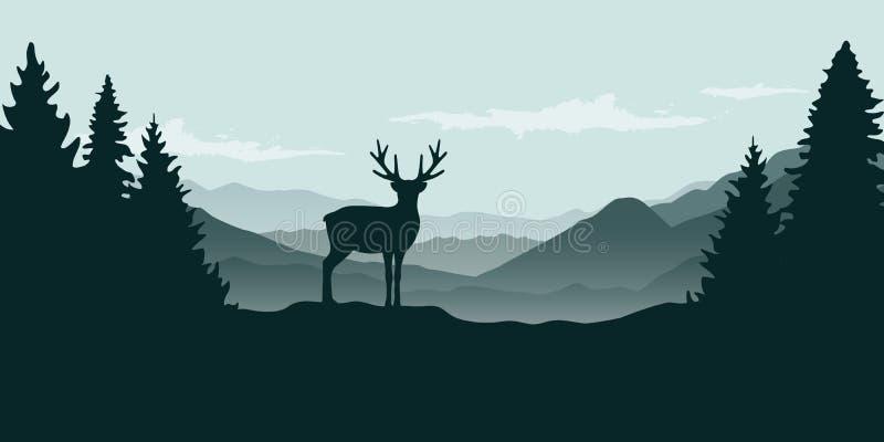 Mountain View del reno de la fauna en la niebla stock de ilustración