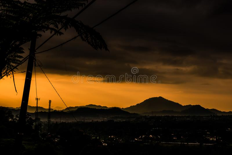 Mountain view with dramatic sky stock images