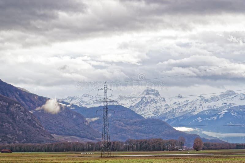 Mountain View em Evian-les-Bains em França no ano novo nos wi fotografia de stock royalty free