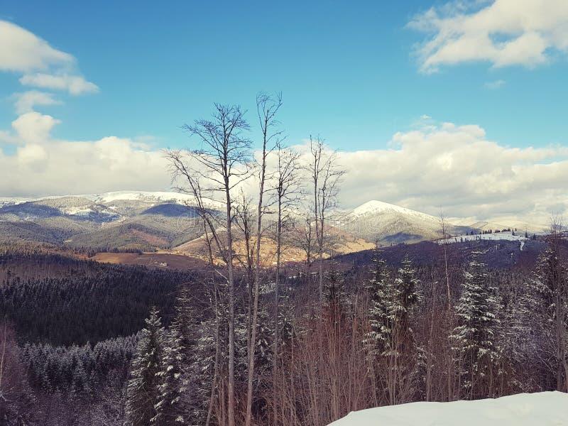 Mountain View en la estaci?n de esqu? Bukovel, C?rpatos, Ucrania imágenes de archivo libres de regalías