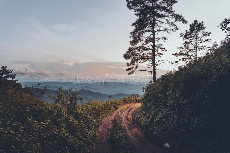 Mountain view in the evening royalty free stock photos