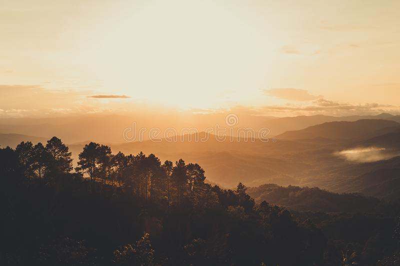 Mountain view in the evening royalty free stock image