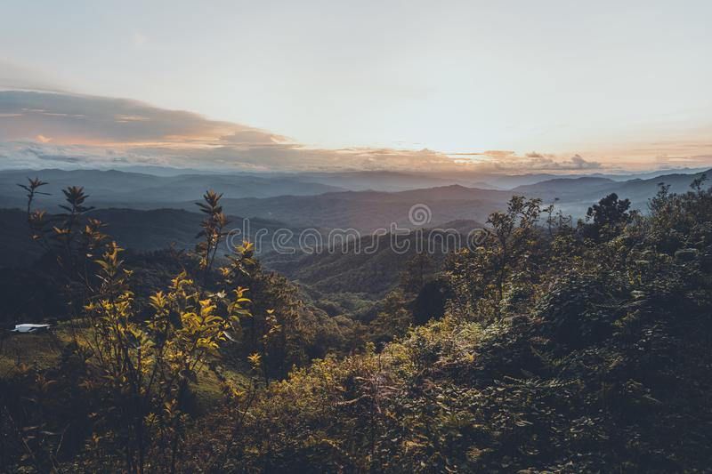 Mountain view in the evening stock image