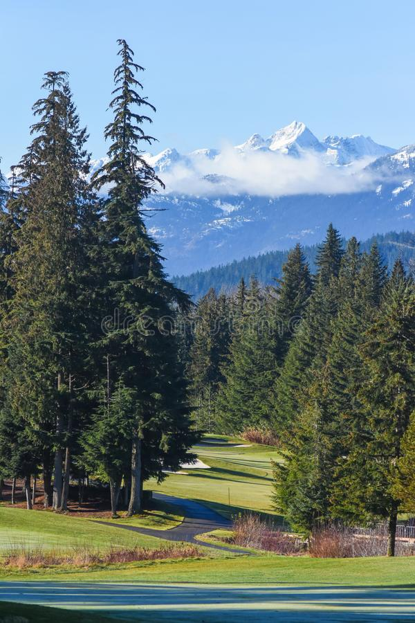 Mountain View From Fairmont Chateau Whistler Golf Club, Whistler, BC.  stock image