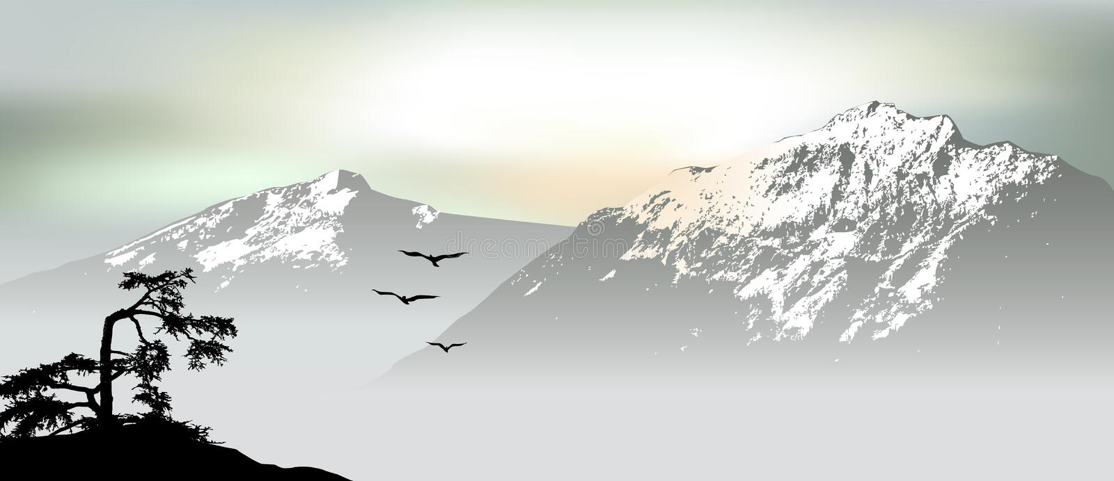 Mountain view with flying birds during sunrise. 2d vector vector illustration
