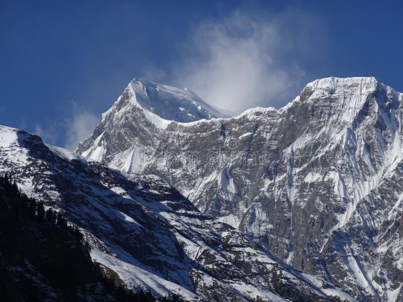 Mountain View himalayano, area di annapurna fotografia stock libera da diritti