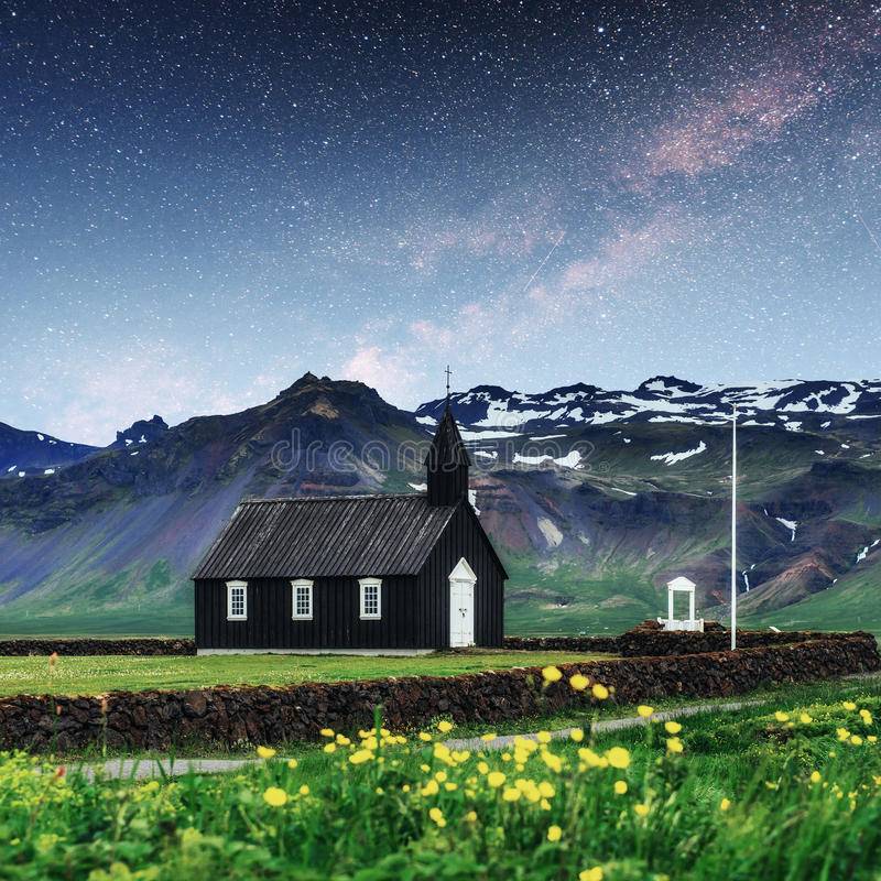 Mountain View Iceland. Fantastic starry sky and the milky way royalty free stock image
