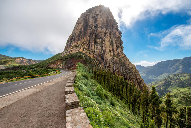 Mountain view on La Gomera island. Agando cliff near Garajonay park on La Gomera island royalty free stock photo