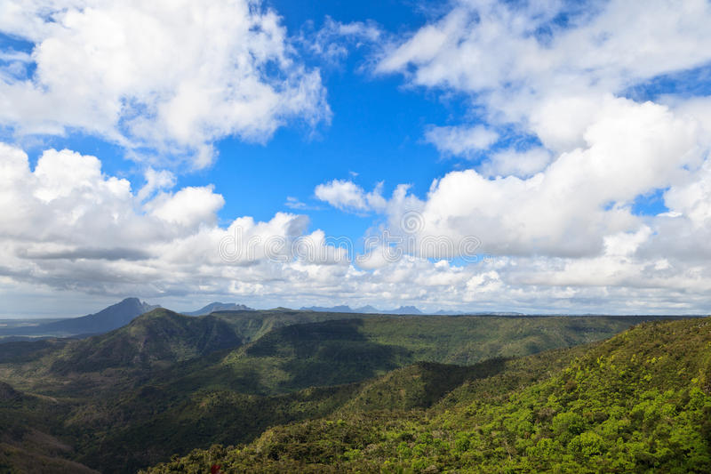 Mountain view of Mauritius. Le Morne mountain in south of Mauritius stock photo