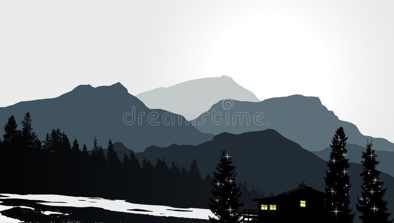 Mountain View med ett ensamt hus vektor illustrationer