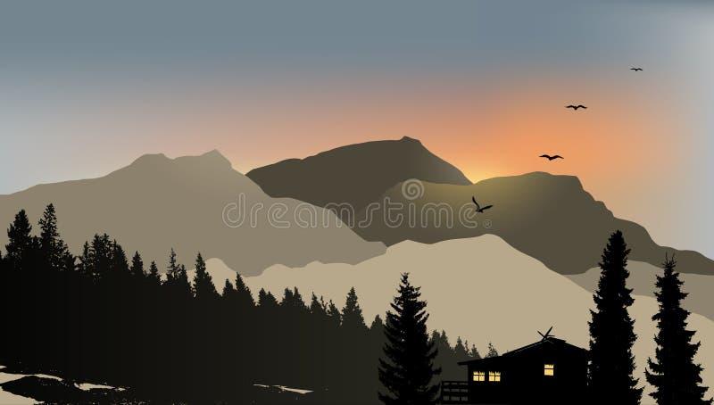 Mountain View med ett ensamt hus stock illustrationer