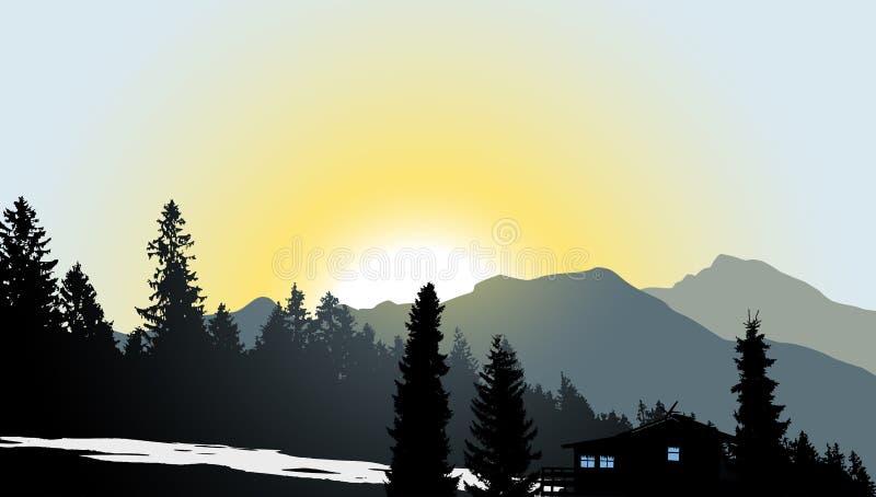 Mountain View med ett ensamt hus royaltyfri illustrationer