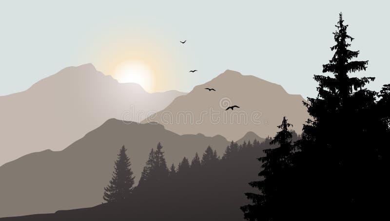 Mountain View med flygfåglar vektor illustrationer
